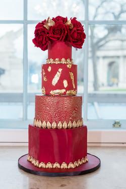 Red & Gold wedding cake