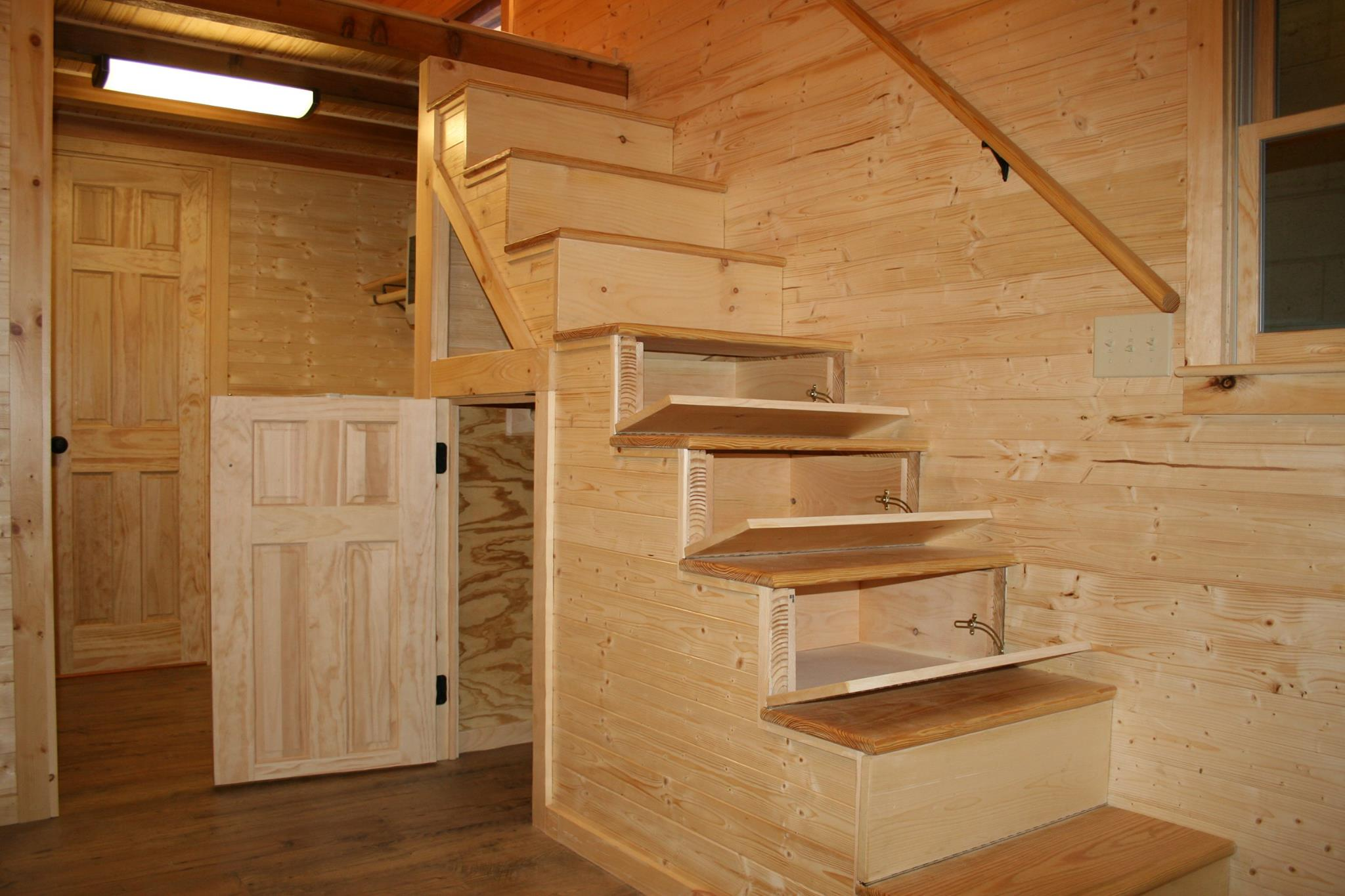 Stairs showing storage.