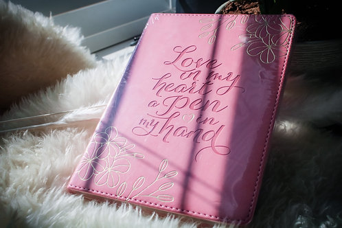 Faux leather love in my heart journal