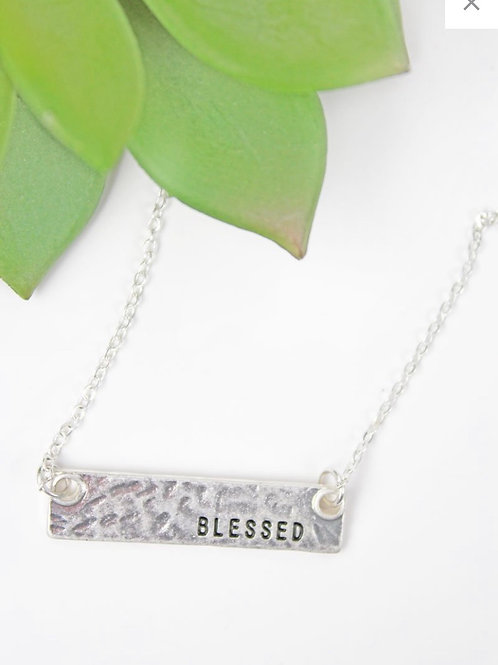 Silver blessed bar necklace