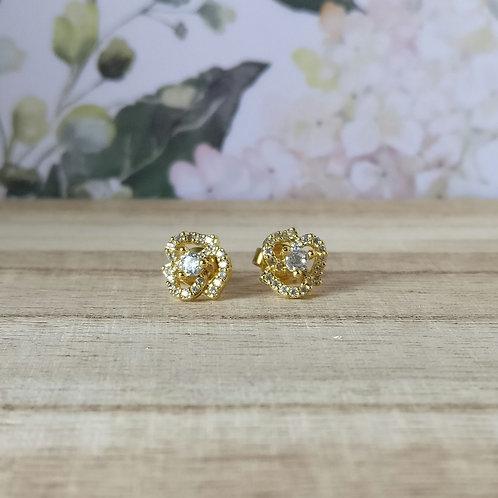 Oorknop bloem goud, zirconium