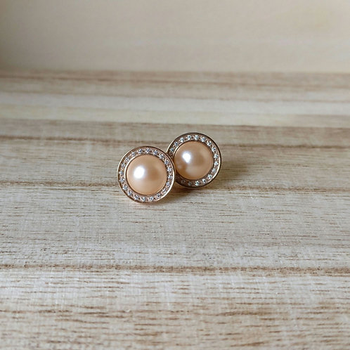 Qudo oorknop canino deluxe rose gold pearl RG