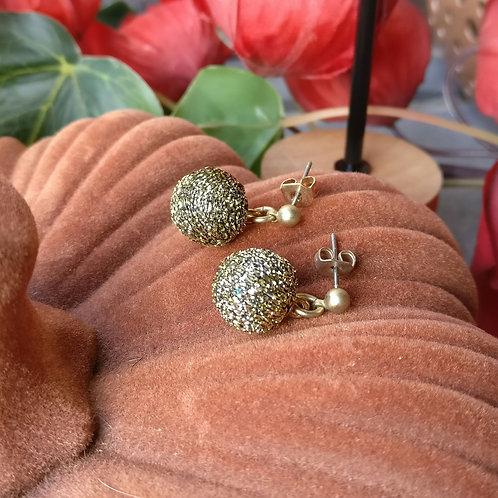 Oorbel mini shiny goud-zwart