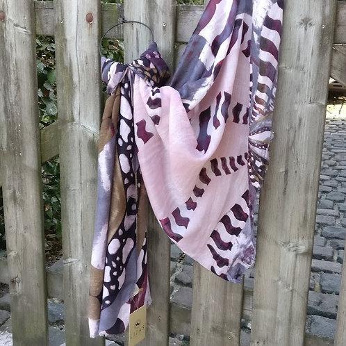 Sjaal dierenprint roze/khaki