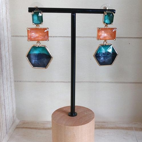 Oorbel oranje/turkoois/blauw