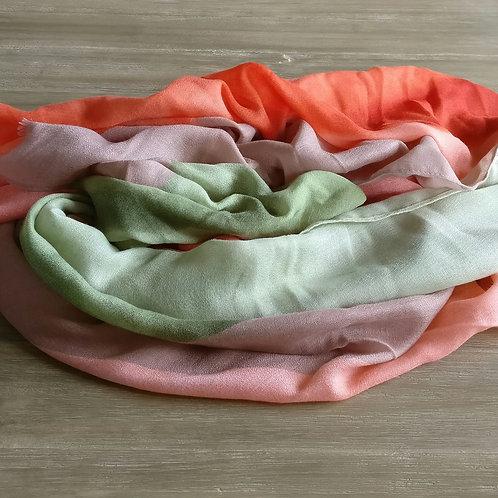 Sjaal zalm/oranje/groen strepen