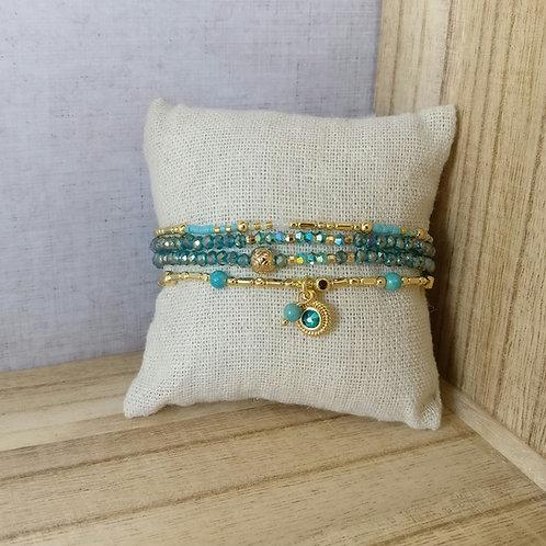 Armbandjes turkoois in set donkerblauw
