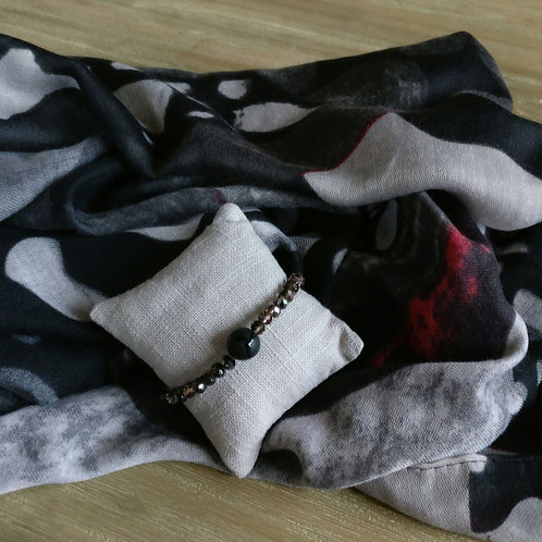 Sjaal dierenprint zwart/grijs/bordeaux + gratis handgemaakt bijpassend armbandje