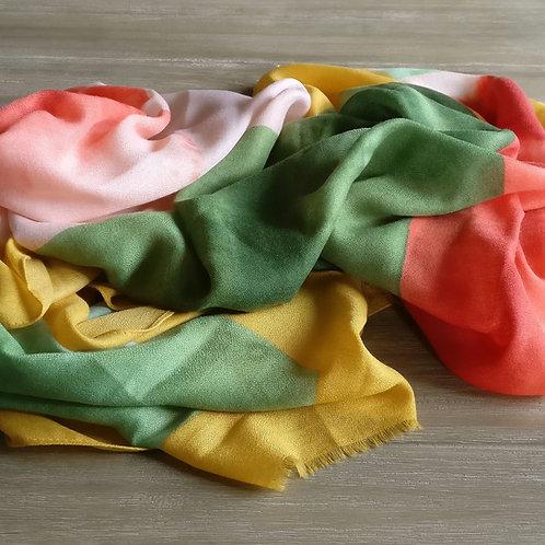 Sjaal oker/koraalrood/groen