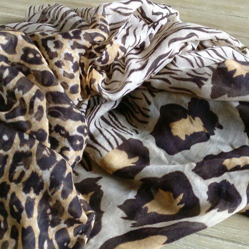 Sjaal dierenprint bruin