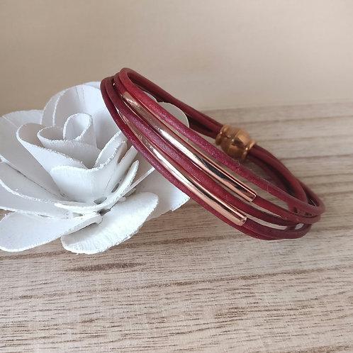 Armband leder rood rosé goud.