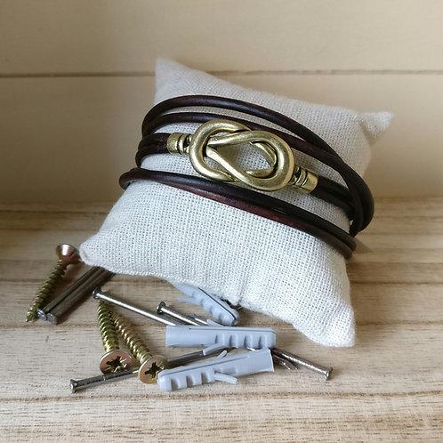 Armband man bruin leder