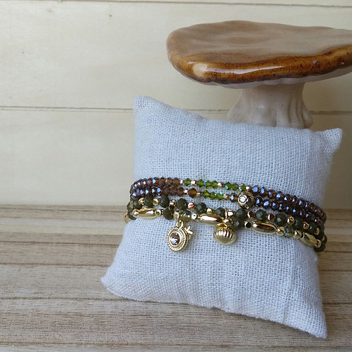 Armbandjes khaki in set