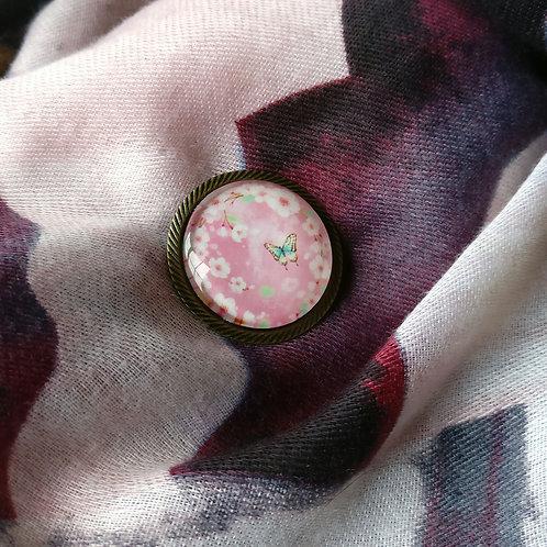 Broche rond roze