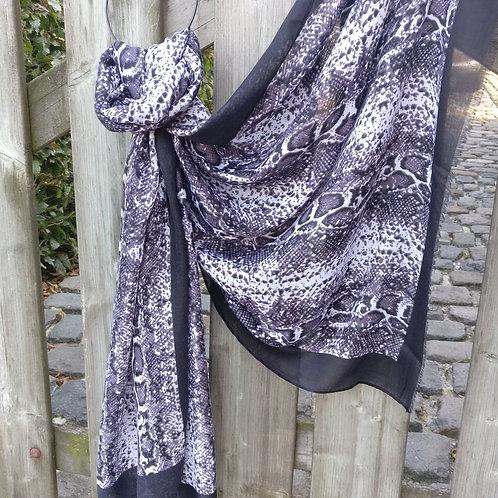 Sjaal slangenprint zwart