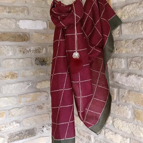 Sjaal bordeaux met donkergroene boord