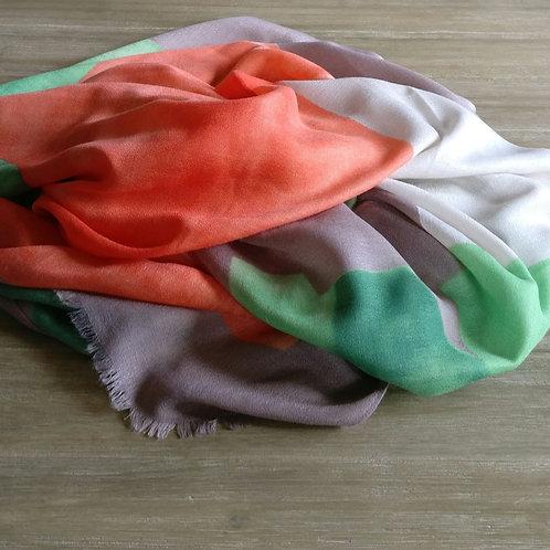 Sjaal beige-bruin/koraalrood/groen