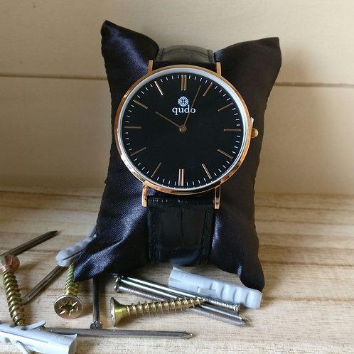 Qudo uurwerk man Eterno zwart rosé goud