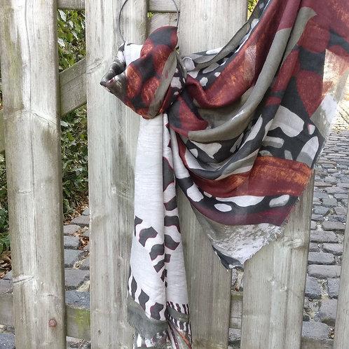 Sjaal dierenprint khaki/roestbruin
