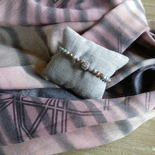 Sjaal oudroze/grijs + gratis handgemaakt bijpassend armbandje