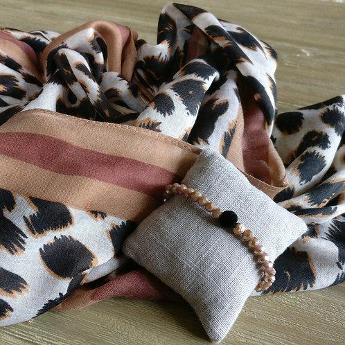 Sjaal dierenprint + gratis handgemaakt bijpassend armbandje