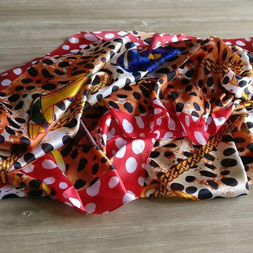 Sjaal dierenprint rood/oranje