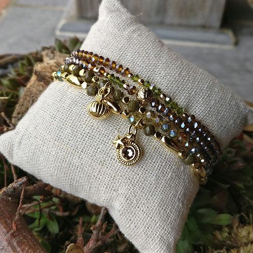 Armbandjes olijfgroen in set