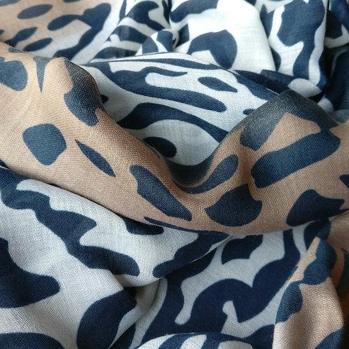 Sjaal dierenprint donkerblauw/wit/bruin