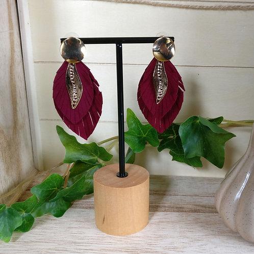 Oorbel fluwelen blad burgundy
