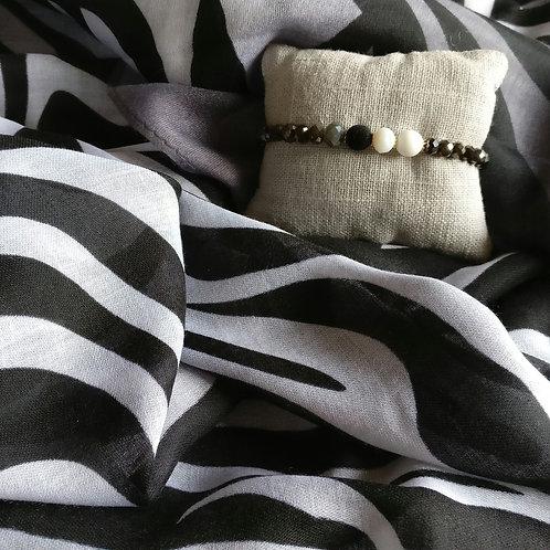 Sjaal zebrastreep + gratis handgemaakt bijpassend armbandje