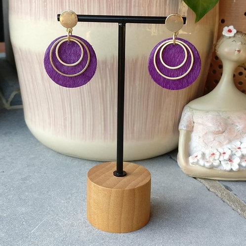 Oorbel rond leder paars