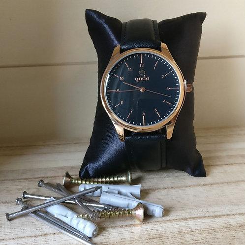 Qudo uurwerk man Lonigo black rosé goud.
