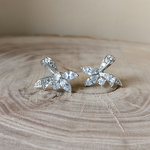 Oorknop strik zilver