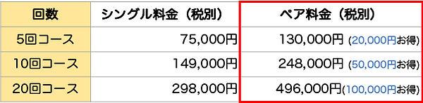 シングルとペアの料金比較