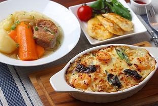【レシピ全体画像】海老とほうれん草のクリームドリア・塩豚のポトフ・鶏むね肉のピカ