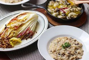 【レシピ全体画像】茸のリゾット、下記のアヒージョ白菜のオーブン焼き、.jpg