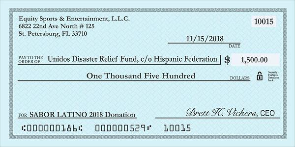 sabor latino 2018, sabor latino 2019, undos disaster relief fund check and donation for puerto rico