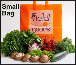 Small bag with Field Goods Logo, mushrooms, cucumber, strawberries, lettuce