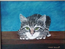 pouncing cat  9x12 Oil on Canvas Board.j