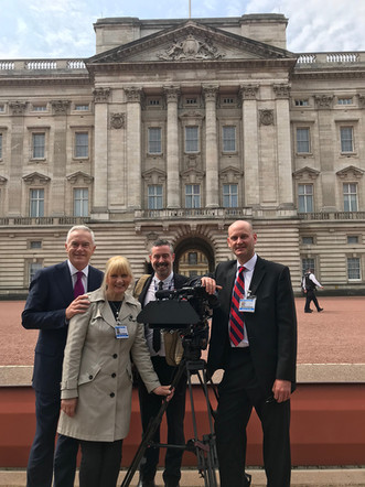 Filming PTCs with Huw Edwards at Buckingham Palace
