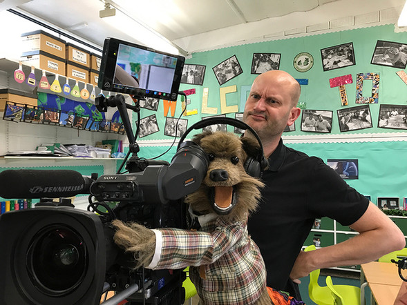 Filming with Hacker T. Dog from CBBC