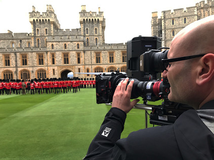 Filming the Grenadier Guards at Windsor Castle