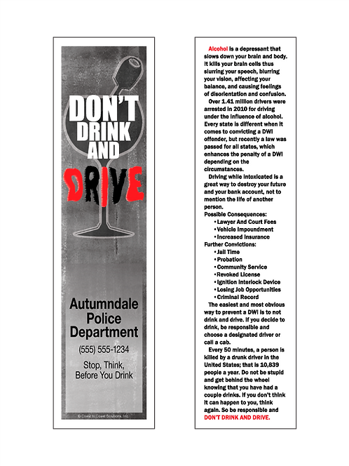Don't Drink & Drive Bookmark