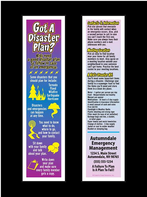 Kid's Disaster Plan Bookmark