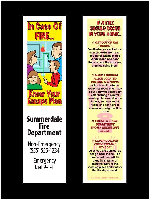 Fire Escape Plan Bookmark