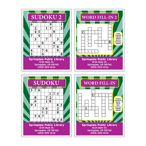 Adult Activity Cards - Front