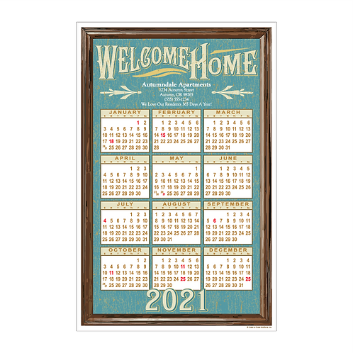 Retro Welcome Home Wall Calendar