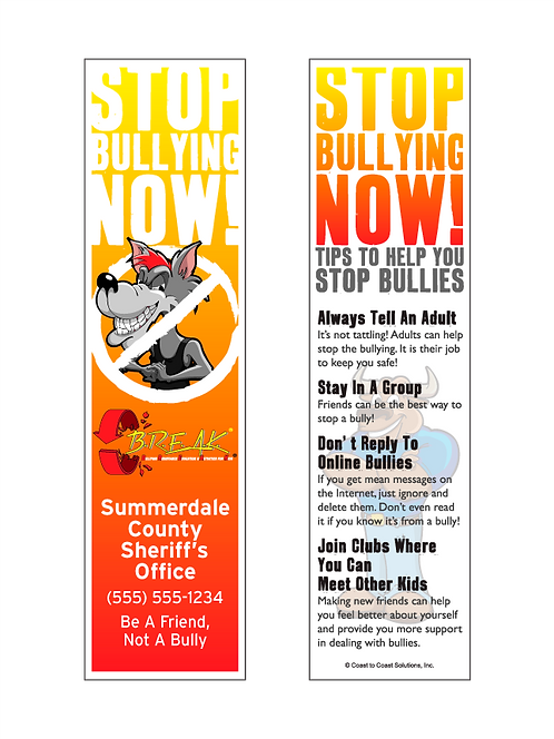 B.R.E.A.K. Stop Bullying Now Bookmark