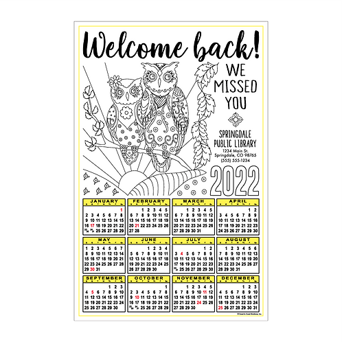 Welcome Back Coloring Calendar