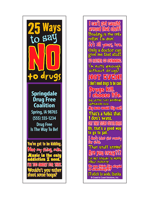 25 Ways To Say No To Drugs Bookmark